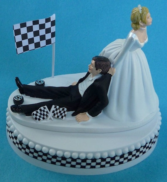 Wedding Cake Topper Checkered Flag Tires Auto Car Racing Fan