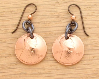 For 60th: 1958 US Penny Earrings with Silver or Copper Earwires Coin Jewelry 60th Birthday Gift or 60th Anniversary Gift