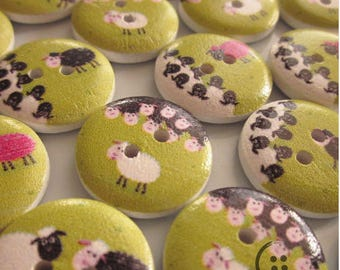 Set of 10 buttons in the wood sheep in the meadows