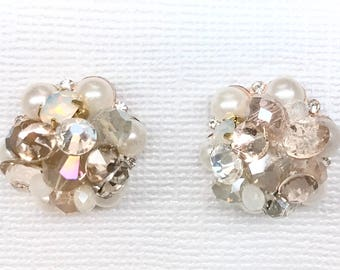 Champagne Bridal Studs- Bridal Cluster Earrings- Art Deco Studs- Champagne Earrings- Wedding Earrings- Vintage Inspired Studs- Brass Boheme