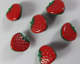 Red Strawberry Novelty Buttons