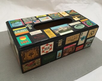 Vintage Wooden Decoupage Kleenex TISSUE BOX Cover Holder