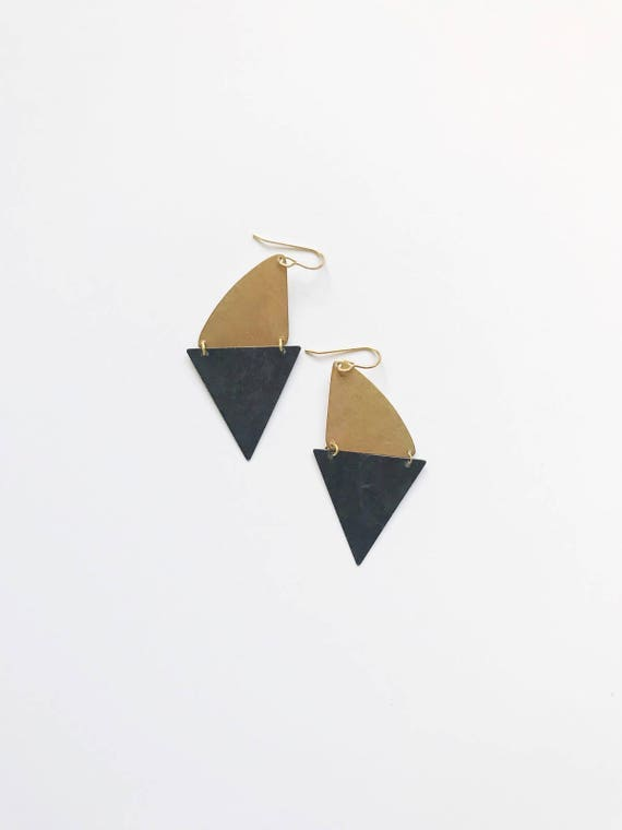 Brass and Black Triangle Drops