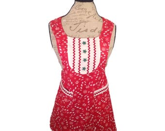 Ladies Christmas sparking Candy Cane reversible apron
