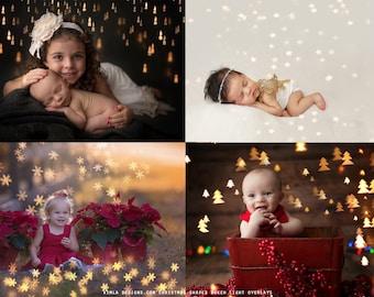 Christmas Shapes Bokeh Light Overlays, Photoshop Overlays, Light Overlays, high quality Bokeh Light, Photoshop Overlays for Photographers