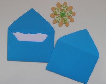 Blue Mini envelopes with inserts, Paper ephemera, Paper embellishments, Journaling, Project Life, Little party favors, Sets of 10, 25, 50