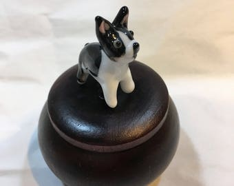 Tiny Wood Trinket Box with Lampwork Glass French Bulldog Boston Terrier Topper Knob/Finial