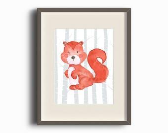 Squirrel Woodland Creature Print - Watercolor - Nursery