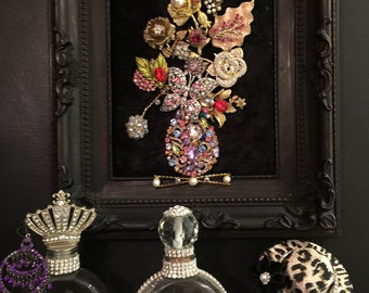 Jewelry collage wall frame