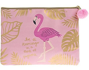 Be a flamingo in a flock of pigeons Pink Zip Purse / Make Up bag
