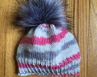 Colorful Baby Beanie with Pom Pom