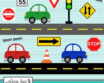 SALE! Cars-Road Signs-Cute Cars with Road Signs-Clipart Set,Commercial Use,Instant Download, Digital Clipart, Digital Images- CP237