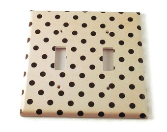 Double  Light Switch Cover Wall Decor Light Switchplate Switch Plate in Polka   (171D)