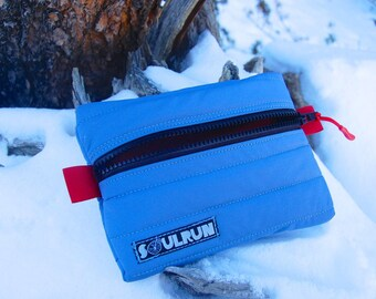 Puffy Phone Pouch - Light Blue with Black Zipper