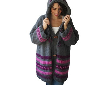 Chunky Hand Knitted Cardigan Coat Outwear by Afra