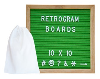 Green Felt - Oak Frame Retro Letter Board 10 x 10 inch with 300 White interchangeable letters and FREE letter bag