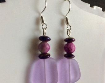 Purple Sea Glass Earrings With Purple Jasper and Hematite