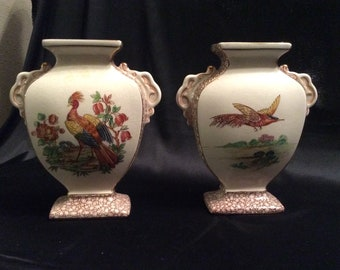 Made in England male Chinese Golden Pheasant vases pair