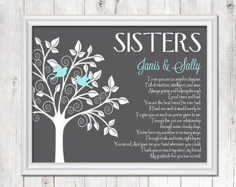 SISTER gift print, Personalized gift for your Sister, Wedding Gift for Sister, Birthday Gift, CANVAS or Prints
