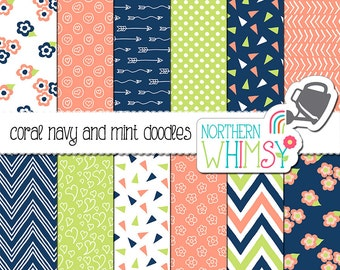 Coral and Navy Digital Paper - hand drawn floral doodles in coral, navy, and mint - seamless patterns - scrapbook paper - commercial use