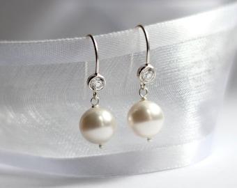 Bridal Pearl Earrings, Pearl Jewelry, CZ Earrings, Wedding Earrings, Crystal Earrings, Sterling Silver Earrings, Wedding Jewelry