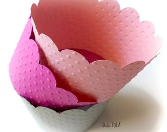 Mixed Pink & Grey Polka Dots Embossed Cupcake Wrappers, Standard Size Cupcake Liners, Table Decoration-Set of 12 pcs