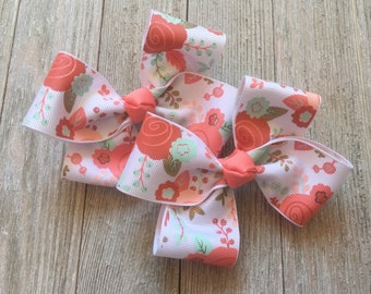 Hair Bows,Coral,Mint,Peach Hair Bows,Floral Hair Bows,Pigtail Hair Bows,French Barrettes,Ready to Ship