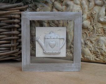 Floating Glass Frame, Watering Can Plaque, Clay, Country Style Home Decor, Wall Hanger