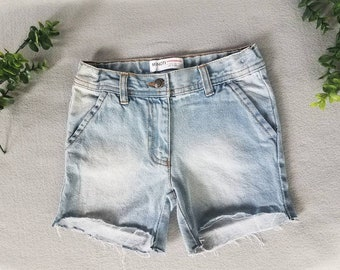 Girls Light Washed High- Low Jean Shorts