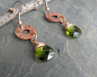 Green Swarovski Crystals Hang Below Hammered Copper Rounds