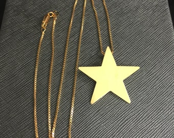Star Necklace, Star Pendant Necklace, Stevie Nicks Inspired Star Necklace, Large Sterling Silver Star Necklace 24K gold Plate, Pentagram