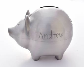 Personalized Piggy Bank, Metal Piggy Bank, Back to School, Kid's Gift, Engraved Pig Bank, Pig Money Bank, Customized Piggy Bank, Christmas