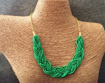 Braided green necklace, bridesmaids necklace, green necklace, green bib necklace, green bridesmaids, beaded necklace, green and gold, green