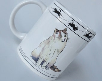 1 Vintage 2 Sided Cat Mug - Turkish Van Cat & Chartreux Cat - Kitty Cat Lover Gift Pussy Cat Tea Cup, Kitten, Birthday Gift, Coffee Mug Gift