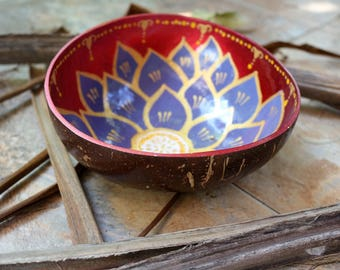 Coconut bowl Hand Painted  Decorative Wooden Bowl Multipurpose Handmade Coconut Shell Bowl (PC 16)