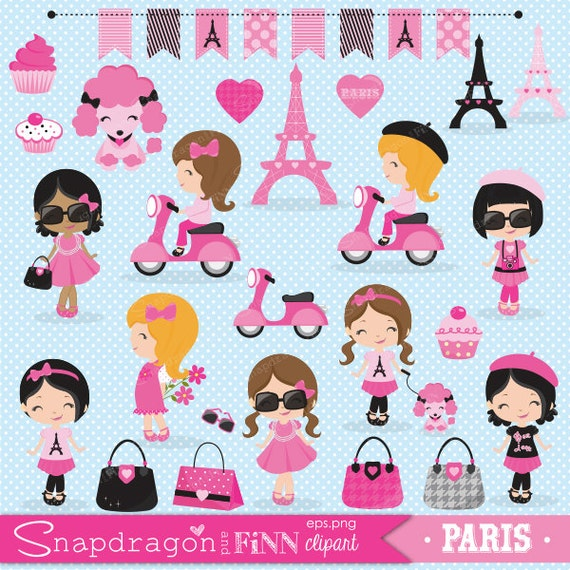 Paris Girl Clipart Shopping Cute Eiffel Tower Poodle Commercial License Included From