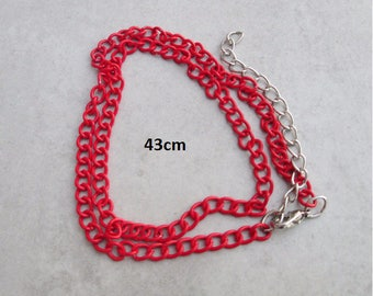 1 x red 43cm metal chain necklace