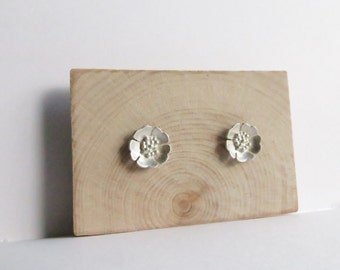 Sterling Silver Floral Poppy Studs. Silver Poppy Studs. Silver stud earrings. Floral stud earrings.