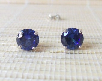 Blue Sapphire Studs Sterling Silver September Birthstone 8mm Ready to Ship