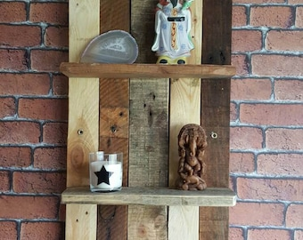 Two tier upcycled/recycled hardwood shelving unit