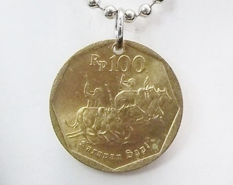 Indonesia Coin Necklace, Bronze Rupiah Coin, Running Bulls, Handmade, Mens Necklace, Womens Necklace, 1996