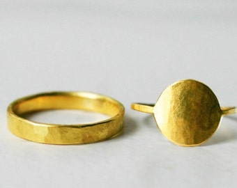 Fair trade yellow gold wedding rings, 18k fairmined gold, ethical partner rings