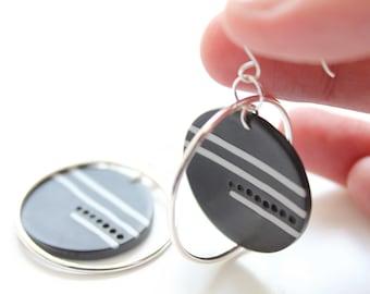 Polymer Clay statement earrings, Silver Statement earrings, Handmade jewellery, Geometric hoops, Polymer clay dangles, Medium silver hoops