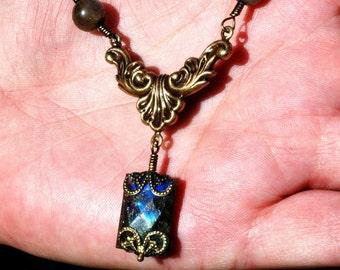 Rococo Labradorite   ---   Labradorite With Antiqued Brass