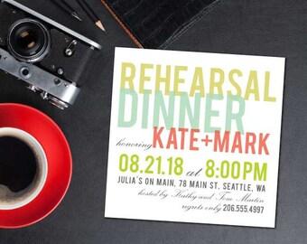 Sherbet Rehearsal Dinner Invitation; modern, minimal, typography, contemporary