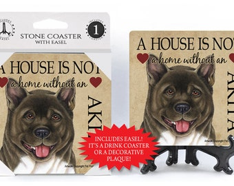 Akita A House Is Not A Home Stone Drink Coaster