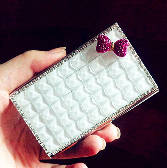 White rhinestone business card holder fuchshia hot pink cute like this item colourmoves Image collections