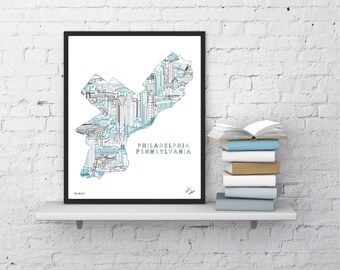 Philadelphia Wall Art   Skyline Print   Souvenir Gift