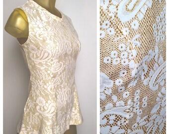 Mod 60s Peplum Blouse, Vintage 1960s Shiny Gold Gogo Top Paisley Sleeveless Peplum Shirt Long Slim Vintage 60s 70s Mod Glam Textured Shirt S