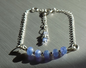Tanzanite and 925 sterling silver bracelet with butterfly and Tanzanite extender chain.